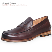 ELANROMAN 2016 The Height Increasing High Quality Fashion Business And Casual Style Men Tan Leather Loafers