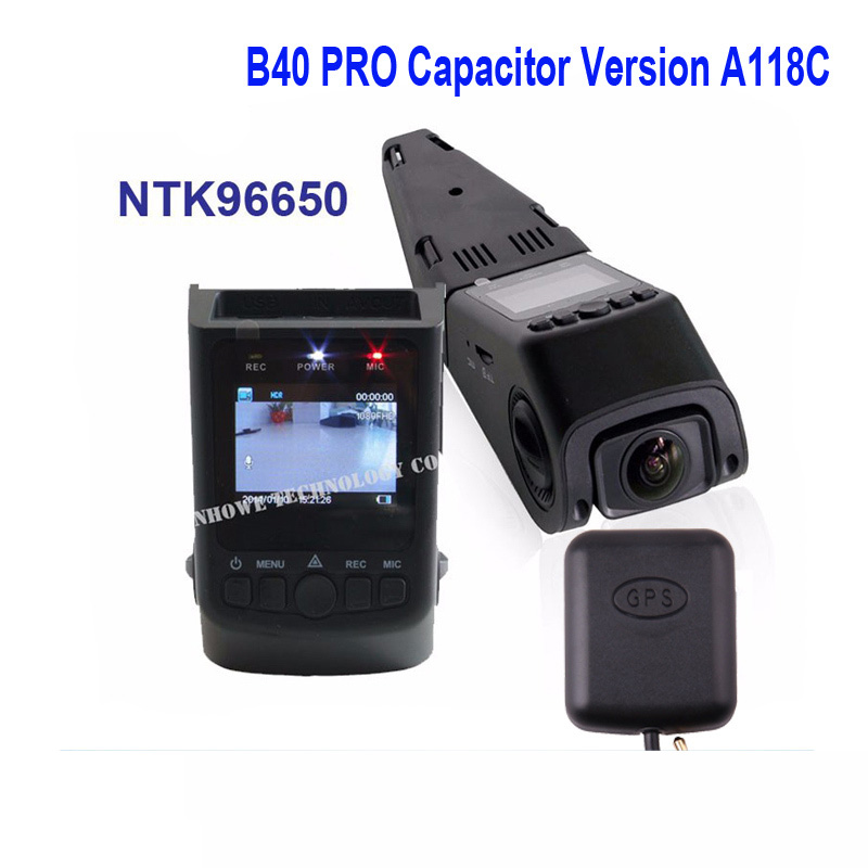 B40 PRO Capacitor Version A118C GPS Car Dash Camera DVR NTK96650 Chip H.264 1080P Mini IN Car Dash Camera DVR Free Shipping!! new 3 5 gps receiver antenna module for car dvr gps log recording tracking antenna accessory for a118 for a118c car dash camera