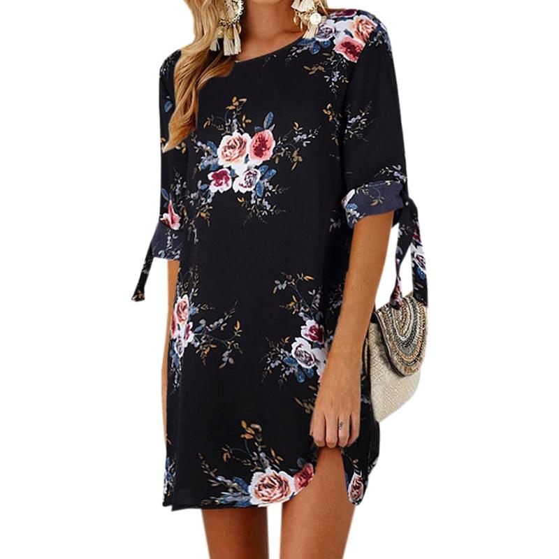 Female Floral Printed Mini Dress Plus Size Straight Casual Sundress 2018 Boho Women Summer Half Sleeve O-neck Boho GV591 1
