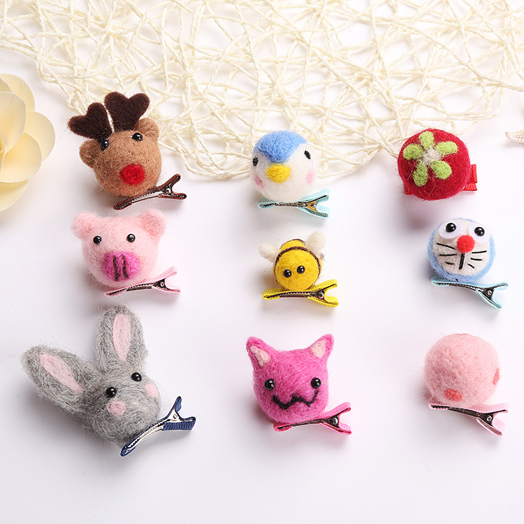 New Korea Handmade Hairpin Wool Character Cartoon Ball Hair Clips Bow Knot Hair Grips for Girls Hair Accessories ...