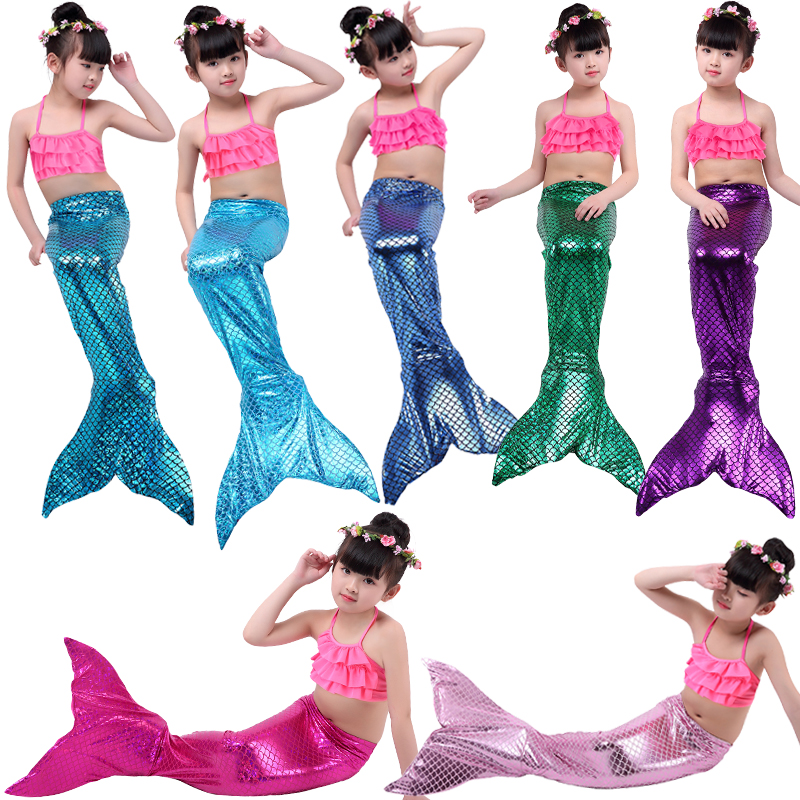 4PCS/SET Baby Girls Mermaid Tail Dress With Monofin Costume Mermaid Tail Cosplay Costume Swimsuit Mermaid Costume Cloth Tail