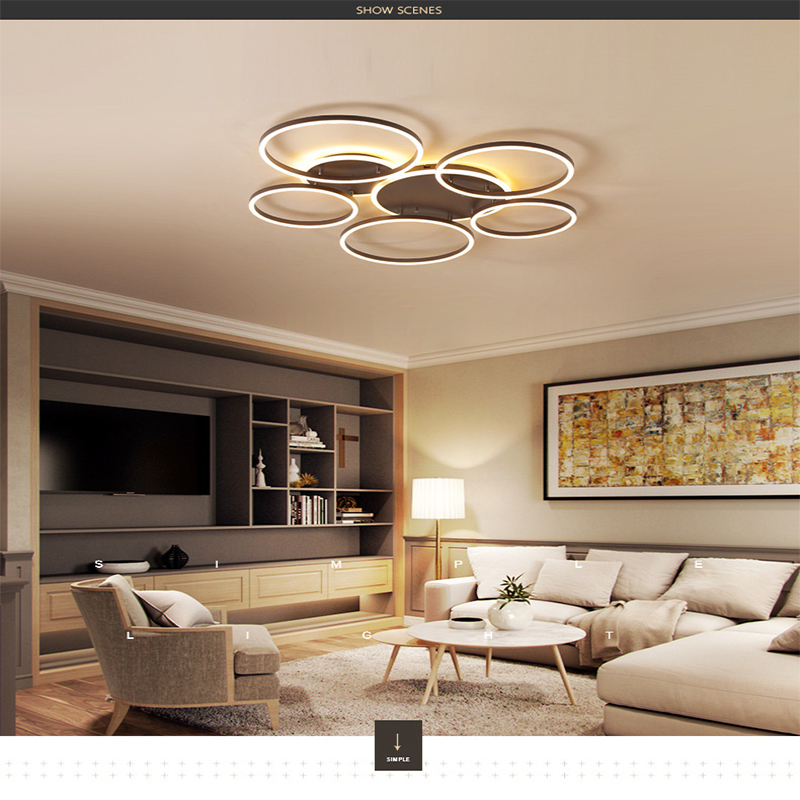 Led ceiling lamp modern bedroom living room ceiling lamps acrylic geometric ring Indoor Lighting RC Dimmable Pendant light|Pendant Lights| |  - title=