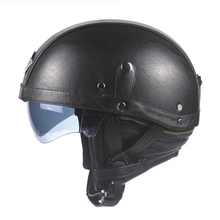 New Synthetic Leather Motorcycle Helmet Retro Vintage Moto Helmet Cruiser Scooter Touring Casco Half Helmet DOT Sun Shield Lens