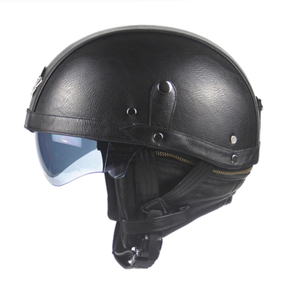 New Synthetic Leather Motorcycle Helmet Retro Vintage Moto Helmet Cruiser Scooter Touring Casco Half Helmet DOT Sun Shield Lens