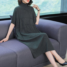 Solid elastic knit loose plus size sweater 2018 new bat sleeve turtleneck women autumn long dress