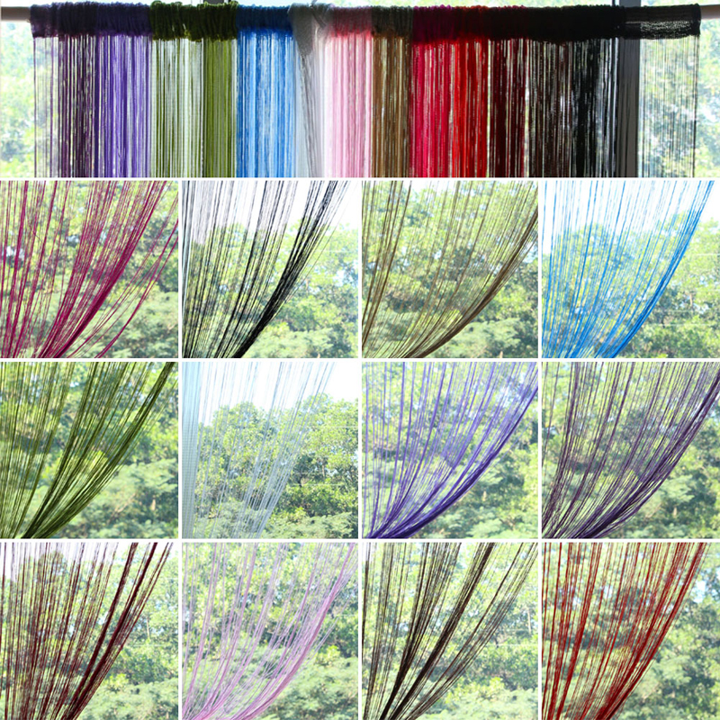 2x1m 12 Colors String Curtains Door Window Panel Curtain Divider Yarn  String Curtain Strip Tassel Drape Decor For Living Room In Curtains From  Home U0026 Garden ...