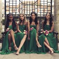 Verde Esmeralda de la vendimia Sin Tirantes Una Línea Vestido de Dama de honor Vestido Wwith Frente Divide 2017 Robe Demoiselle D'Honneur
