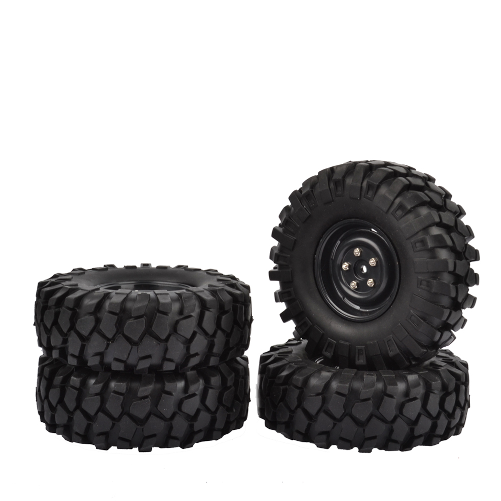 1/10 RC Rock Crawler 1.9 Tires and Wheels (4) 108mm Fits Axial SCX10 RC4WD D90 mxfans rc 1 10 2 2 crawler car inflatable tires black alloy beadlock pack of 4