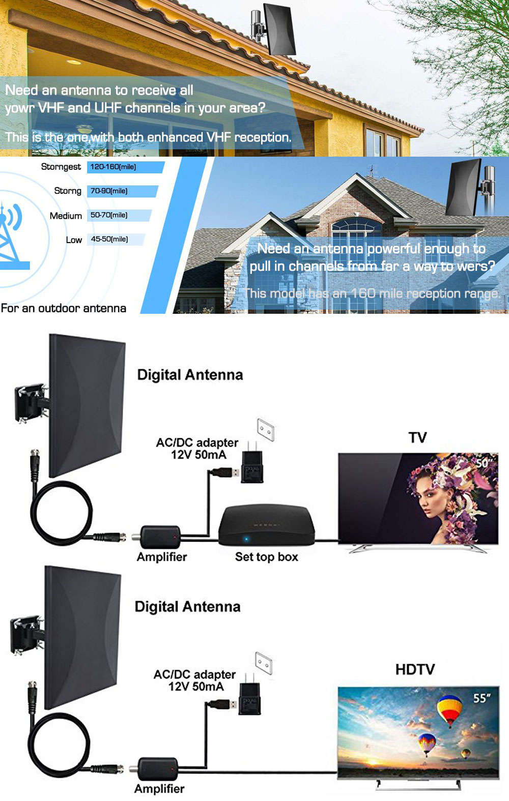 US $27 73 48% OFF|Satxtrem 318A 160 Miles Outdoor Amplified TV Antenna  Upgrade Omni Directional HDTV Antenna With 32 8ft Coax Cable For  FM/VHF/UHF-in