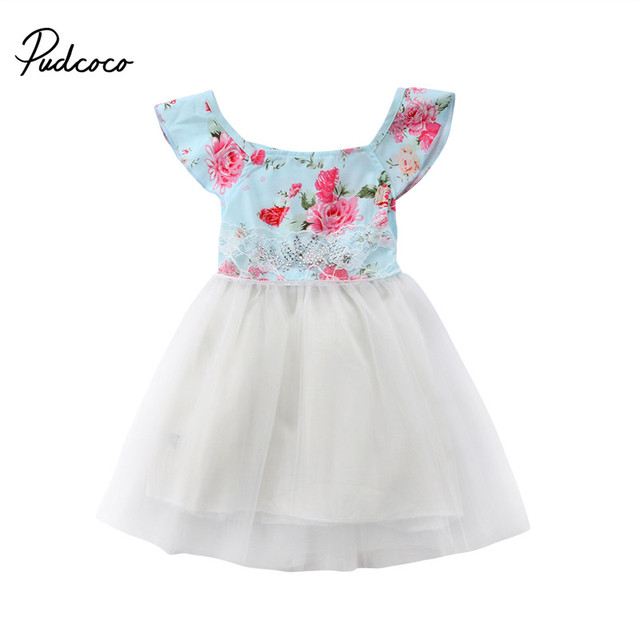 Verano Niñas vestido 2018 floral princesa vestido sin mangas Diseño de Moda  Para Niñas ropa cumpleaños 33e731263ff