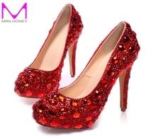 Frühling Neue Schuhe Plattformen Rot Kristall Echtem Leder Brautschuhe Tanzen Ball Party Prom Pumpen