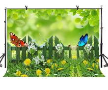 7x5ft Fresh Green Backdrop Grass Wildflower Butterfly Photography Background and Studio Props