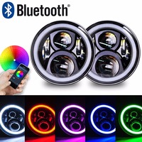 7Inch LED Headlight Assemblies 60W With Multicolor RGB Halo Angle Eye APP Bluetooth Remote For Jeep