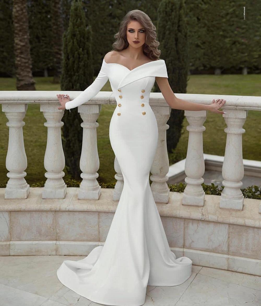 Satin Mermaid Wedding Gown: Dubai White Mermaid Wedding Dress Off The Shoulder Long