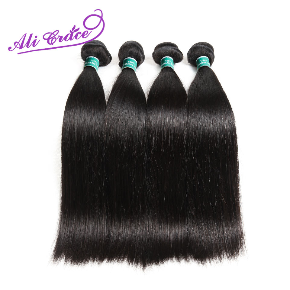 ALI GRACE Hair Peruvian Straight Hair 4 Bundles 100 Remy Human Hair Extension Natural Color 10