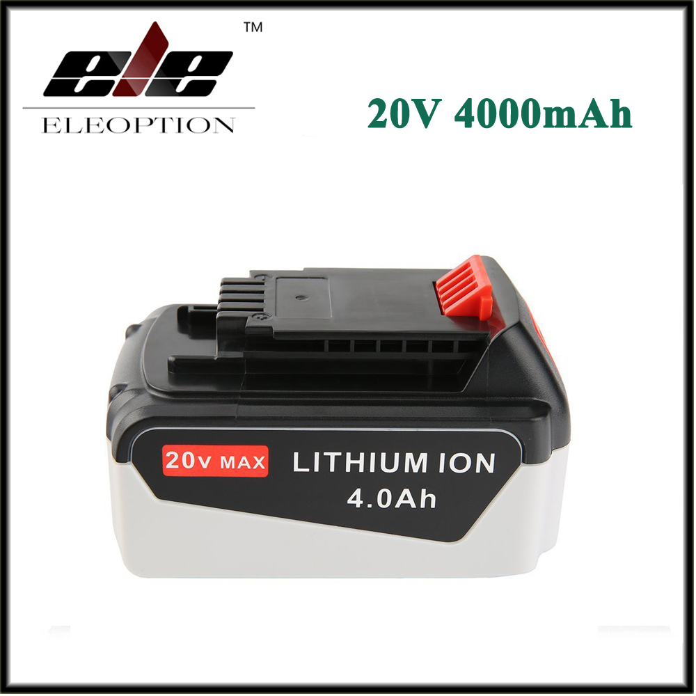 Eleoption 20V 4000mAh Li-ion Rechargeable Power Tool Replacement Battery for BLACK & DECKER LB20 LBX20 LBXR20 LB2X4020-OPE eleoption 2pcs 18v 3000mah li ion power tools battery for hitachi drill bcl1815 bcl1830 ebm1830 327730