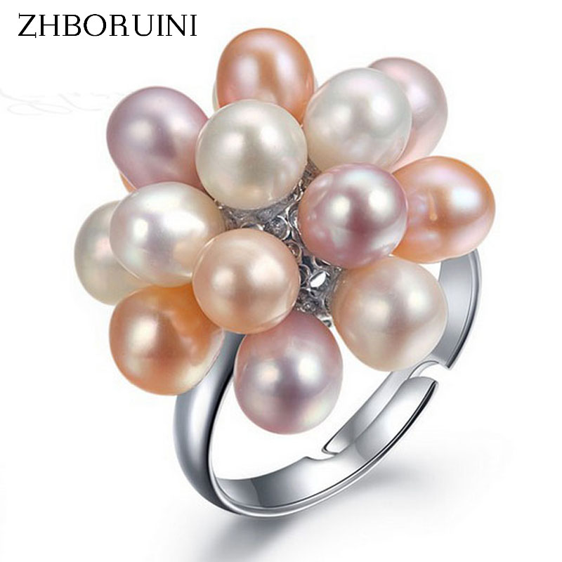 ZHBORUINI 2017 Fashion Pearl Ring Pearl Jewelry Water Drop Natural Freshwater Pearl Flower Rings For Women Wedding Rings Gift