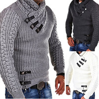 Autumn winter new 2018 crop sweater Men Winter Long Sleeve Solid Knitted Sweater Pullover Tops pull homme hiver de marque