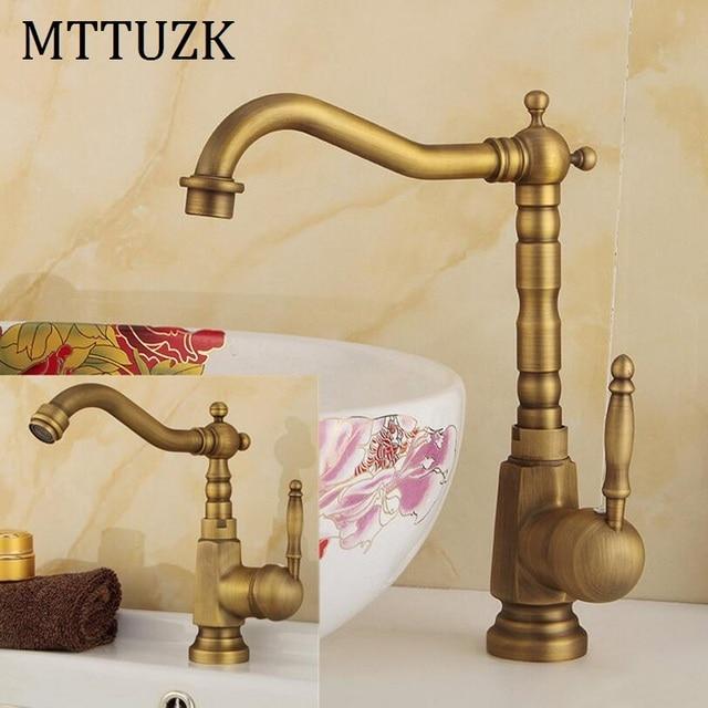MTTUZK Antique copper bathroom faucet single handle single hole ...