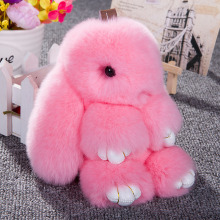 Bunny Rex Rabbit Fur Handbag Bag Keychain Pom Doll Ball Key Chain Ring Pendant