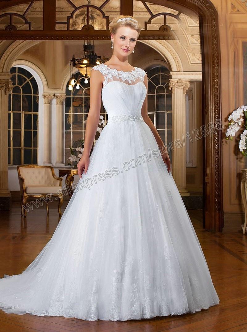 Vestido de novia Para Mujeres de Talla grande Blanco de Encaje de ...