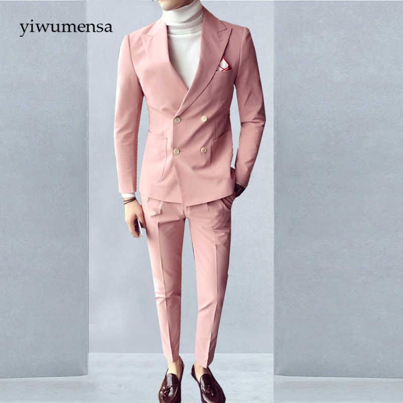 タキシードtalian高級ベージュメンズスーツダブルブレストピンクウェディングスーツ男イングランドスタイルスリムフィット二枚安いスーツ