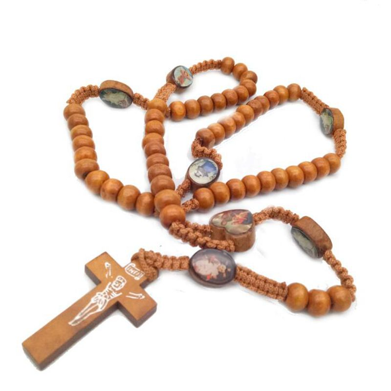 Holy Image Sticker Wooden Beads Hand-woven Cross Necklace Religious Christian Catholic Rosary Necklace