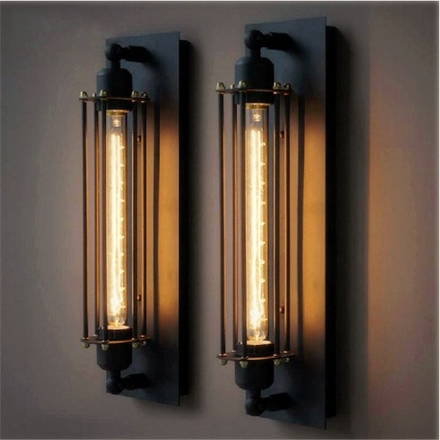 Industrielle rustique long black applique murale lampe r tro vintage
