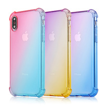 Four-corner airbag Anti-fall Phone Cases For iPhone 5S 6 6S 7 8 Plus Cover SE X XR XS MAX Gradient Color Case
