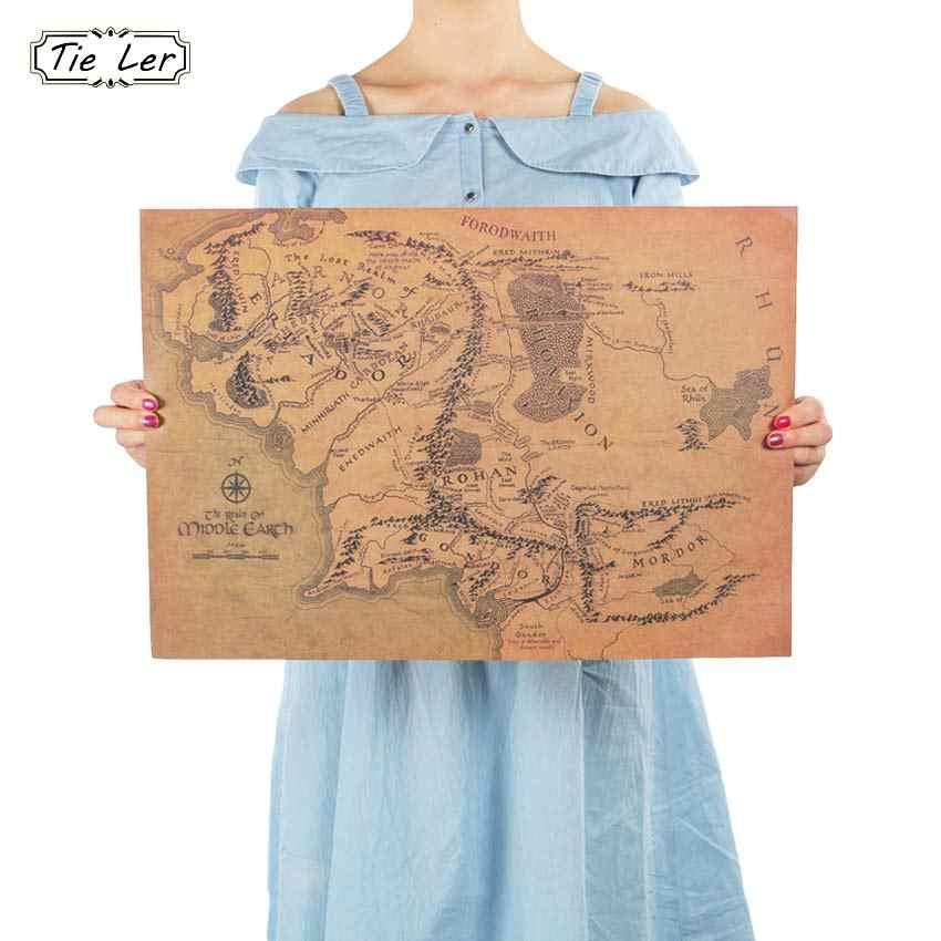 التعادل LER Vintage خريطة الأرض الوسطى على رب الخواتم المشارك ديكور المنزل الجدار ملصق 51x35.5 سنتيمتر الرجعية ورق الكرافت