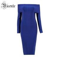 Free Shipping! 2018 New Chic Elegant Navy Blue Sexy Off The Shoulder Long Sleeves Midi Wholesale Women Celebrity Bandage Dress