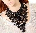 Moda estilo europeo y americano exagerada joyas collares de encaje negro collar de huecos clavícula OMT-3002