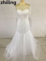 Newest Off Shoulder Lace Short Sleeves Wedding Dress 2016 Mermaid Wedding Dresses Bridal Gown Custom Size