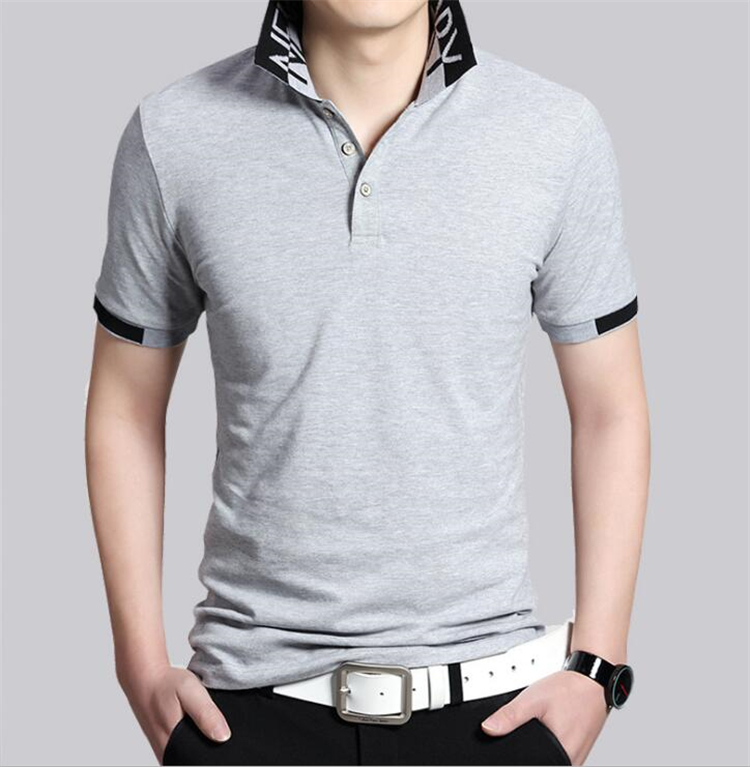 EVES Breathable mens   polo   shirt brands Cotton   Polo   Shirts Short Sleeves Stylish Black Gray   polo   homme de marque haute qualite