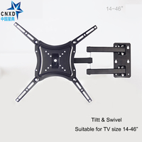 Retractable Full Motion TV Wall Mount Bracket Wall Stand Adjustable Mount Arm Fit For Plasma Flat