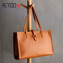 AETOO Original handmade Crazy horse leather handbag Tote bag leather bag simple first layer of leather handbag art shoulder bag