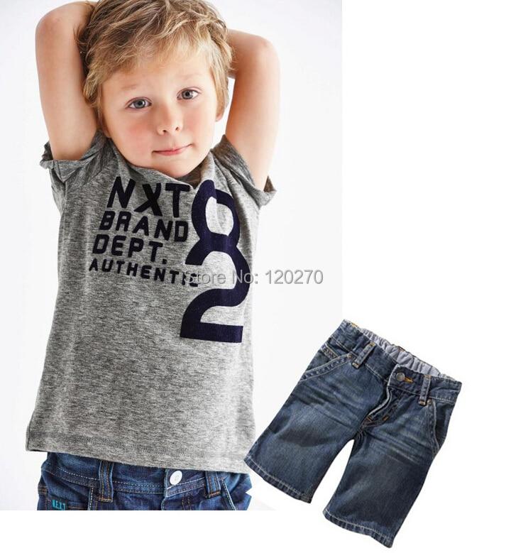 Free Shipping Summer Baby Boy s NEXT Letter T shirt + Denim Jeans ... a742abb02