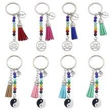 Porte-clé en cuir et velours coloré avec pompon en forme de Lotus Gossip, pendentif de tous les jours pour femme