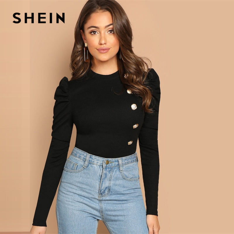 SHEIN Black Elegant Button Front Leg of mutton Sleeve Round Neck Slim Fit Tee 2018 Autumn Workwear Women Tops And T shirt|T-Shirts| - AliExpress