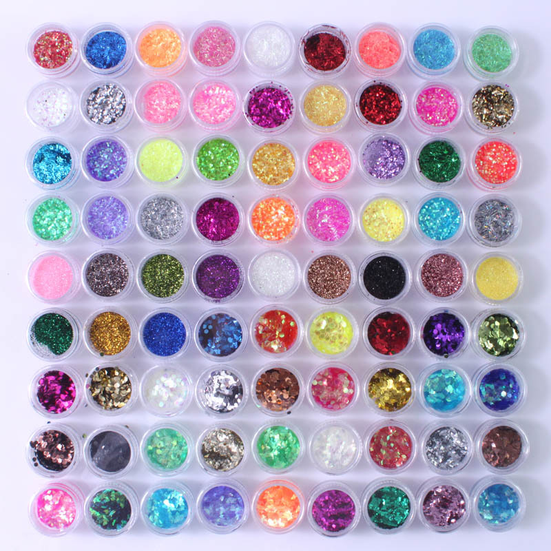 90 Colors Metal Acrylic Nail Art Glitter Dust Powder Bundle Shimmer Tips DIY Free Shipping