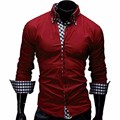 Plus Size L-2XL 2017 Men's Brand Clothing Solid Cotton Camisa Masculina Plaid Sleeve And Placket Men Shirt Casual Slim Fit Shirt