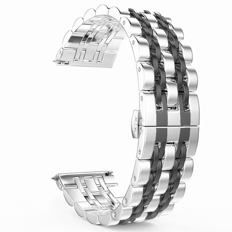 Pour Samsung Galaxy montre 42mm 46mm/Active 40mm bande en acier inoxydable Bracelet Bracelet 20mm 22mm pour Gear S3/S2 Bracelet classique
