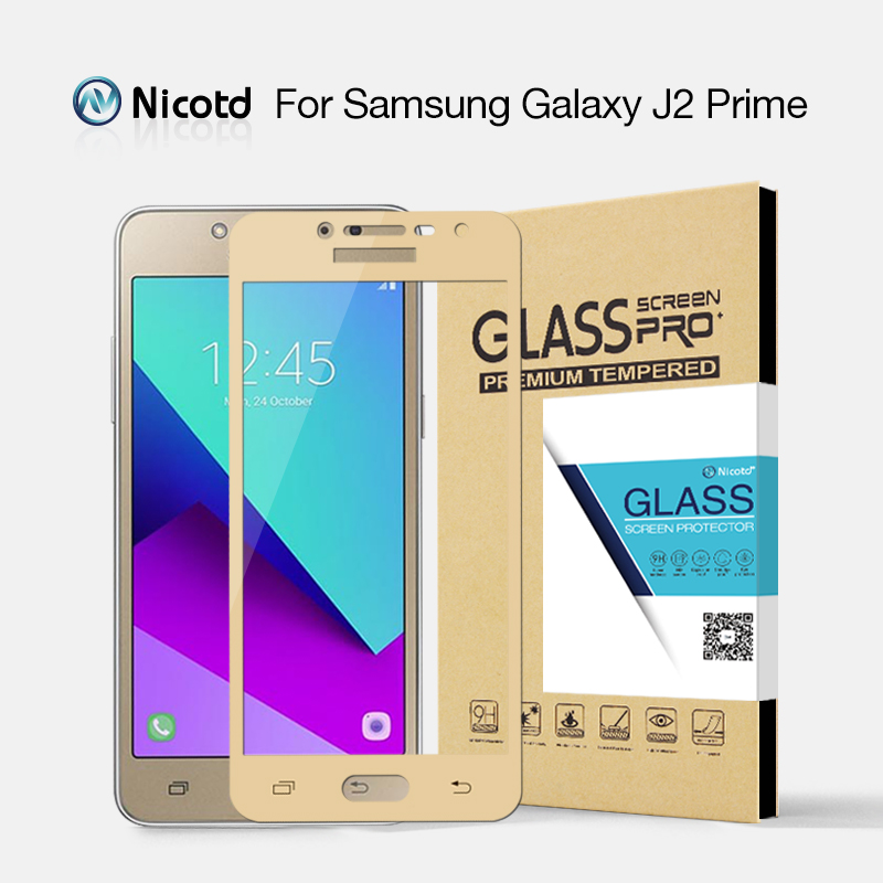 Nicotd Colorful Full Cover Tempered Glass For Samsung Galaxy J2 Prime Screen Protector Glass For Samsung J2Prime Protective Film