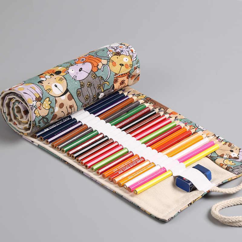 12/24/36/48/72 ม้วนดินสอKawaiiการ์ตูนแมวผ้าใบปากกากระเป๋าPenalสำหรับหญิงขนาดใหญ่Pencilcase Penaltiesกล่องเครื่องเขียน