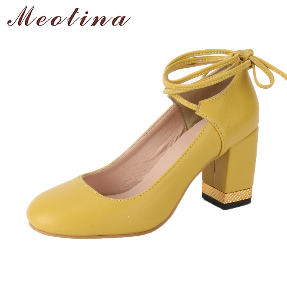 Meotina Pumps Women Shoes Ankle Strap Lace Up Pumps Thick High Heels 2018 Spring Party Shoes Yellow Round Toe Lady Shoes Pink xiaying smile woman pumps shoes women spring autumn wedges heels british style classics round toe lace up thick sole women shoes