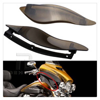 Smoke ABS Upper Outer Fairing Side Wings Air Deflectors For Harley Touring 2014 2015 2016