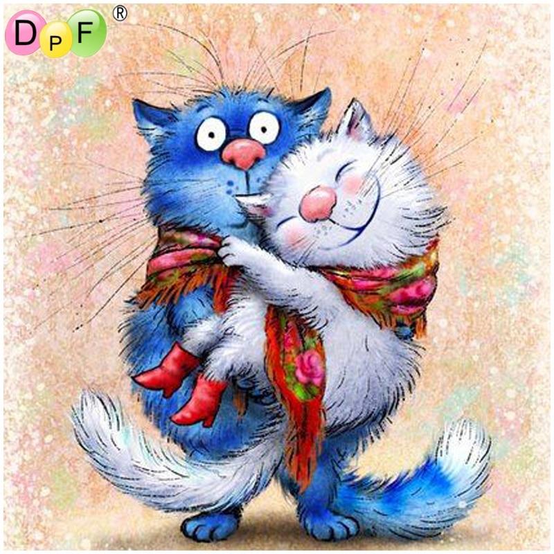 Dpf diy 다이아몬드 페인팅 크로스 스티치 바느질 작업 파란색 흰색 고양이 5d 다이아몬드 자수 다이아몬드 모자이크 사각형 키트 홈 장식|다이아몬드 페인팅 십자수|홈 & 가든 -