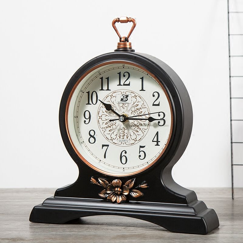European Big Size Desk Clock Bedroon Black Mens Gift Watch New Living Room PVC Material Arabic Numerals Clock W030