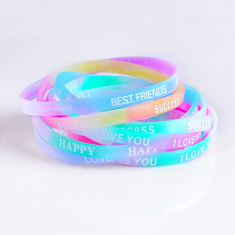 10pcs Colorful Best Friend Printed Letters Luminous Silicone Sports Bracelets Women Fluorescent Rubber Fitness Wristband