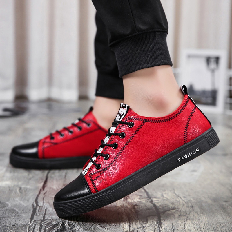 Fashion Men's Casual Sneakers Skateboarding Shoes PU Flats Shoes Students Outdoor Sneakers Street Shoes Lace Walking Shoes